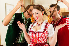 Young people in traditional Bavarian Tracht Royalty Free Stock Images