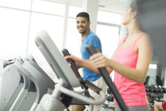 Young people training in gym Royalty Free Stock Photo
