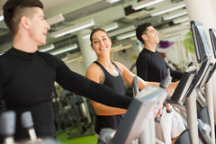 Young people training in the gym Stock Photo