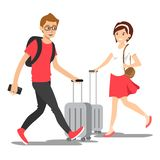 Vector young people with travel bag stock illustration