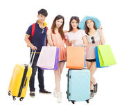 Young people travel and shopping together Stock Photography