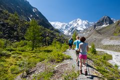 Young people are trekking in highlands of Altai mountains, Russi Stock Image