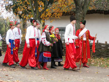 Young people in ukrainian national costumes Stock Images