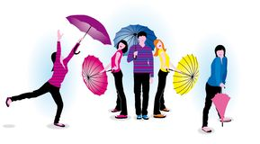 Young people with umbrellas Royalty Free Stock Images
