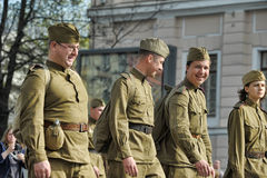 Young people in the  uniform of the Second World War. Stock Photos