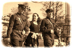 Young people in the  uniform of the Second World War. Stock Image