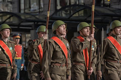 Young people in the  uniform of the Second World War. Stock Photography