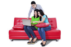 Young people using a laptop Royalty Free Stock Photography