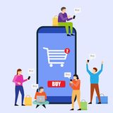 Young people using mobile smartphone for purchasing. Online shopping. Young people using mobile smartphone for purchasing. Men and women standing near big Stock Photo
