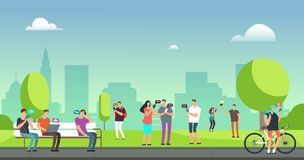 Young people using smartphones and tablets walking outdoors in park. Mobile internet addiction vector concept. Smartphone use in green park, chatting gadget vector illustration