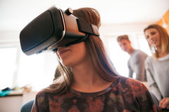 Young People Using VR. In The Living Room Royalty Free Stock Photography