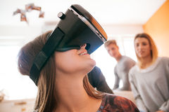 Young People Using VR. In The Living Room Royalty Free Stock Images