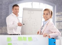 Young people using whiteboard in office smiling Royalty Free Stock Photo