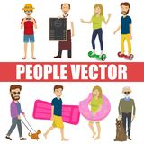Young people vector with various characters stock illustration