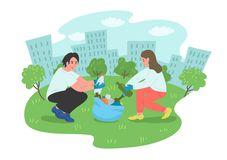 Young people volunteers cleaning city park. Vector illustration vector illustration