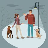 Young people walk in the park with their dogs in the evening when lighted lanterns. Young people man and woman walk in the park with their dogs in the evening stock illustration