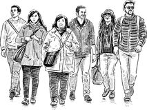 young people on a walk Stock Image