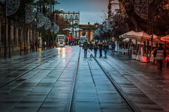 Young People walking during the Christmas days in Spain Stock Images