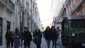 Young People walking in street stock video