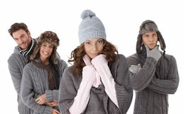 Young people in warm clothes Royalty Free Stock Image