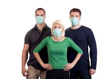Young people wearing flu masks Royalty Free Stock Images