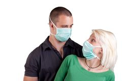 Young people wearing flu masks Stock Photography