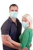Young people wearing flu masks Stock Photo