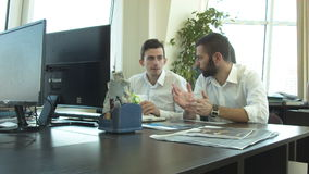 Young people work in the office of the project stock video footage