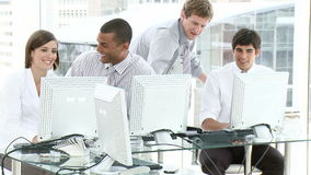 Young people working in an office stock footage
