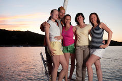 Young people on yacht stock image