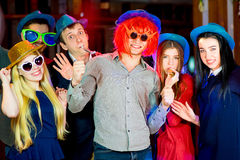 Young peoples birthday party. In the nightclub. Dancing on the dancefloor Stock Image
