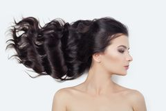 Young perfect female face on white. Cute woman with blowing curly hair, profile.  stock photography