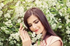 Young perfect woman face. Beautiful female model outdoors Royalty Free Stock Image