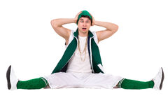 Young performer dressed like a funny gnome posing isolated on the white stock photo