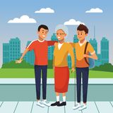Young person with the elderly cartoon. Young person giving support and helping the elderly cartoon vector illustration graphic design royalty free illustration