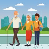 Young person with the elderly cartoon. Young person giving support and helping the elderly cartoon vector illustration graphic design vector illustration