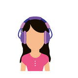 Young person with headphones Stock Images