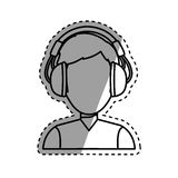 Young person with headphones Stock Photo