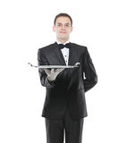 Young person holding a tray Royalty Free Stock Image