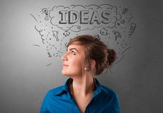 Young person looking forward to a new idea stock images