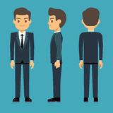 Young person man in three points of view in business, office clothes vector set. Stock Photo