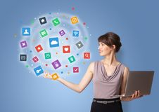 Person presenting new application icons and symbols stock photography