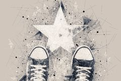Young person on the road with star shape imprint. Talent, vip, prize and award conceptual illustration royalty free stock photo