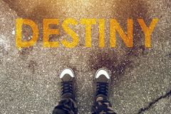 Young person standing on the road with Destiny imprint. On pedestrian walkway. Making right choices and deciding about future steps determines your fate Royalty Free Stock Image