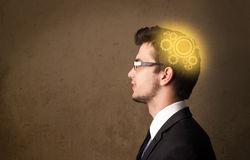 Young person thinking with a machine head illustration Stock Photography