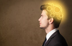 Young person thinking with a machine head illustration Royalty Free Stock Photos