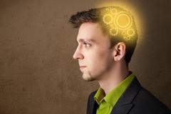 Young person thinking with a machine head illustration Stock Photos