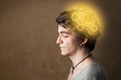 Young person thinking with a machine head illustration Stock Photo