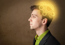Young person thinking with a machine head illustration Stock Images