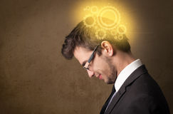 Young person thinking with a machine head illustration Royalty Free Stock Photo